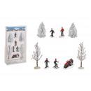 Set di sciatori in miniatura, albero 5-15 cm H in