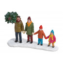 Famiglia in miniatura con albero in poli multicolo