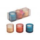Porta tealight in vetro con cera in cera 7x7x7cm B