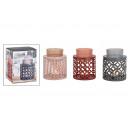 Großhandel Duftlampen: Duftlampe aus Metall, Glas Pink, braun, grau 3-fac