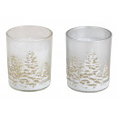 wholesale Wind Lights & Lanterns: Lantern made of glass with wax Winter forest decor