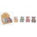 wholesale Dolls &Plush: Plush bear gray, pink, green, white 4-fold sorti