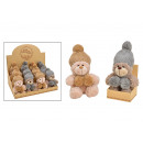 wholesale Dolls &Plush: Bear with knitted hat made of plush brown 2-fold s