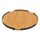 Serving board made of bamboo, natural metal Ø28cm