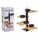 Aperoset bamboe, metaal, zwart keramiek, set van 5