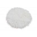 Cuscino sedile in pelliccia sintetica bianco Ø34cm
