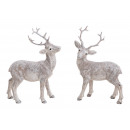 wholesale Figures & Sculptures: Deer with glitter made of poly white 2- times asso