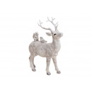 Deer with glitter made of poly white (W / H / D) 1