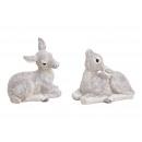Bambi mit Glitter aus Poly Weiß 2-fach sortiert, (