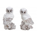 Owl with glitter made of poly white 2- times assor