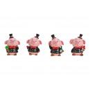 Maialino portafortuna in poli rosa / rosa 3- volte