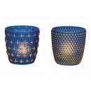 Porta tealight in vetro blu, oro 2- volte assortit