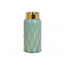 wholesale Flowerpots & Vases: Ceramic vase green, gold (W / H / D) 11x26x11cm
