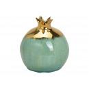 Vaso melograno in ceramica verde, oro (L / A / P)