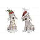 nagyker Ajándékok és papíráruk: Kutya karácsonyi kalapban poli fehér 2-szamárból