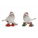 Téli madár santa kalapgal, poli-fehér kétszínű