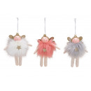 Hanger angel made of textile pink / pink, white, g