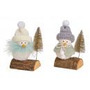 Téli madár fa csomagtartón műanyagból, textilből W