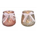 Porta tealight in vetro di champagne, rosa, 2 asso