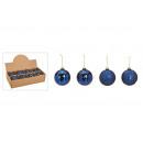 Christmas balls made of glass blue, gold 4-way sor