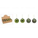 Palle di Natale in vetro verde, oro a 4 vie