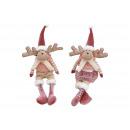 wholesale Dolls &Plush: Edge stool elk made of textile pink / pink, 2 asso