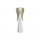 Angel made of metal white, gold (W / H / D) 9x30x7