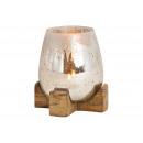 grossiste Maison et cuisine: Lanterne sur socle en bois de manguier en verre de