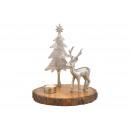 Cervo, albero su tronco di mango con porta tealigh