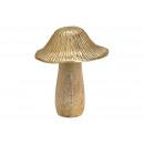Fungo metallo, legno di mango oro, marrone (L / A