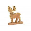Cervo in legno marrone (L / A / P) 25x31x6 cm