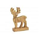 Cervo in legno marrone (L / A / P) 15x23x6 cm