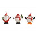 Babbo Natale, pinguino, pupazzo di neve con cappel