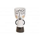 wholesale Flowerpots & Vases: Ceramic vase woman black, white (W / H / D) 9x20x9