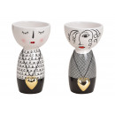 wholesale Home & Living: Vase woman with heart pendant made of ceramic blac