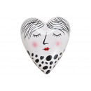 Heart woman made of ceramic black, white (W / H /
