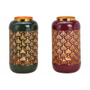 Lanterna in metallo Bordeaux, verde a 2 vie