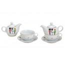 wholesale Kitchen Gadgets: Teapot set nutcracker made of porcelain white, gol