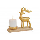 Portacandele cervo in metallo su calza in legno di