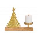 Albero portacandele in metallo su base in legno Ma