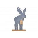 Moose Merry Christmas in feltro grigio (L / H / P)
