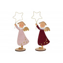wholesale Figures & Sculptures: Angel made of wood Bordeaux, pink 2- times assorte