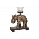 Theelichthouder olifant gemaakt van hout, glas zwa