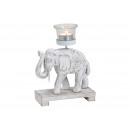 Waxinelichthouder olifant van hout, glas wit (B /
