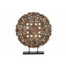 Display Flower on wooden stand black gold