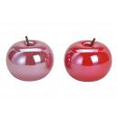 Großhandel Kunstblumen: Apfel aus Keramik Pink/Rot , 2-fach sortiert , (B/