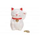 Salvadanaio gatto portafortuna in ceramica bianca