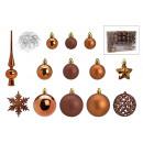 Set di palline di Natale in plastica marrone 111er