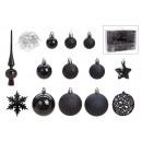 Set di palline di Natale in plastica nera 111er S