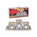 wholesale Home & Living: Tealight holder for 3 with heart pendant made of w